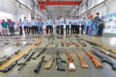 154城集中销毁十万余非法枪支